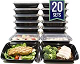 [20 Pack] 32 Oz. Meal Prep Containers BPA Free Plastic Reusable Food Storage
