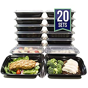[20 Pack] 32 Oz. Meal Prep Containers BPA Free Plastic Reusable Food Storage Container Microwave & Dishwasher Safe Portion Control Containers & Bento Box Lunch Box 51ZJ3d5kzzL
