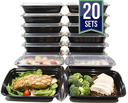 [20 Pack] 24 Oz. Meal Prep Containers BPA Free Plastic Reusable Food Storage Container Microwave & Dishwasher Safe w/Airtight Lid For Portion Control & Bento Box Lunch Box