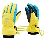 Aivtalk Winter Full Finger Gloves Leisure Warm Windproof Waterproof Outdoors Camping Cycling Driving Mountain Ski for Girls and Boys Yellow XS