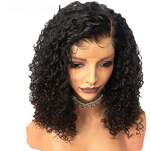 Bob Curly Lace Front Human Hair Wigs For Black Women With Baby Hair Brazilian Remy Short,16inches