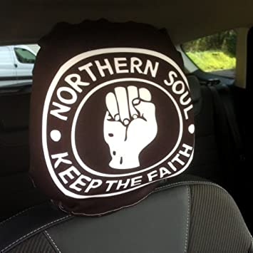 CAR SEAT HEAD REST COVERS 2 PACK NORTHERN SOUL DESIGN MADE IN YORKSHIRE