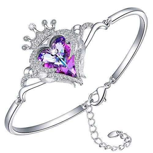 (Swarovski Heart Crown Angel Wings Adjustable Bangle Bracelet with Swarovski's Crystals Bracelets for Women Wife Jewelry, Gifts for Mothers Day and Birthday from Daughter Son(F-Swarovski bracelet))