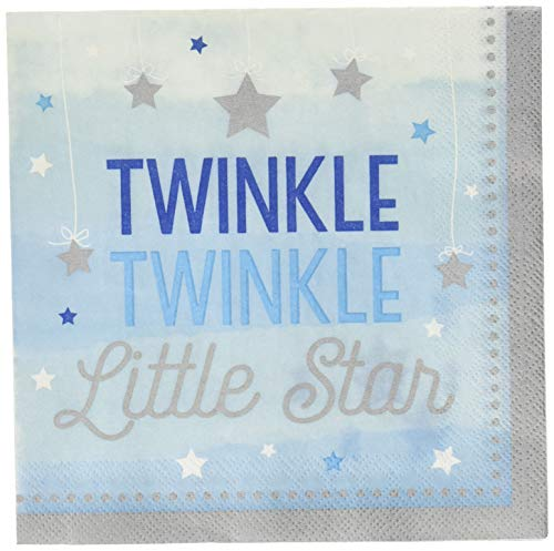 Creative Converting One Little Star Boy - Twinkle Luncheon Napkins, Multicolor
