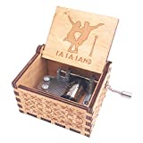 Lalaland Music Box Hand Crank Musical Box Carved Wooden,Play The Theme Song of Lalaland,Brown