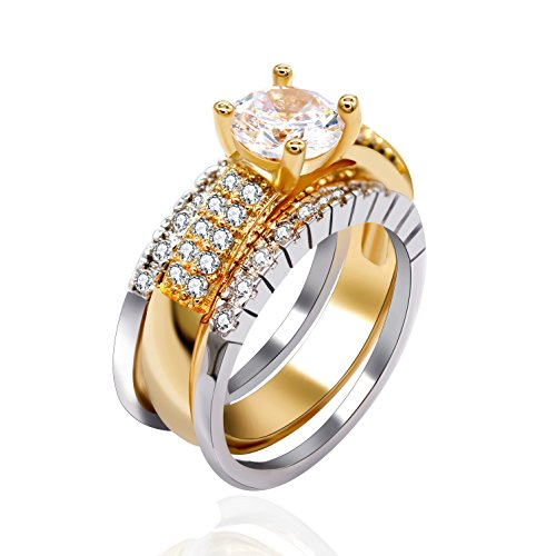 Uloveido Lady Rings Pack of 3 pcs Halo Big Stone AAA Cubic Zirconia Gold Plated 2 Tones Party Solitaire Jewelry Mother 's Day Gift (Gold Color, Size 5) (Gold Triple Stone)