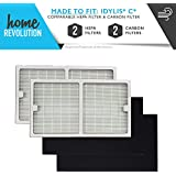 Idylis Part # IAF-H-100C for Idylis Air Purifiers IAP-10-200, IAP-10-280, Comparable 2 HEPA Filter Plus 2 Pack Carbon Filter. A Home Revolution Brand Quality Aftermarket Replacement 4PK