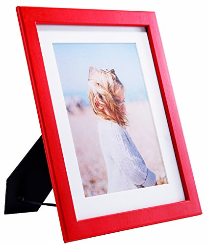 "Suspended Table Display (YoMee 8x10"" Hidden Thickness Red Wood Picture Frame with Glass Front - Simple Style - Display Pictures 6x8"