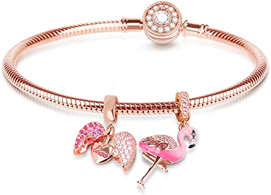 Amazon.com: GNOCE Rose Gold Charm Bracelet 925 Sterling Silver ...