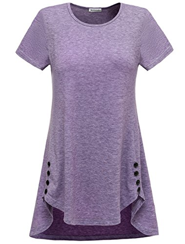 Modecrush Womens Long Tunic Shirt for Legging Activewear Workout Top Blouses Unique Button Decor