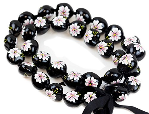 Barbra Collection Hawaiian Style Kukui Nut Hand Painted Necklaces 32 Nuts(White Hibiscus Flower)