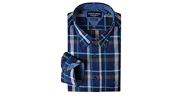 Camisa Manga Larga de Franela Azul Turquesa Marrón a Cuadros ...