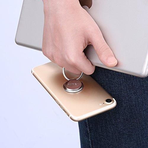 AUKEY Soporte Anillo Teléfono ( 2 Pack ) Rotaria de 360°Metálico con Pegado 3M Soporte Teléfono Móvil para iPhone 7 / 7 Plus / 6s / 6 , Samsung Galaxy Note 8 / S8 y Otros Teléfonos Inteligentes - Plat brillante