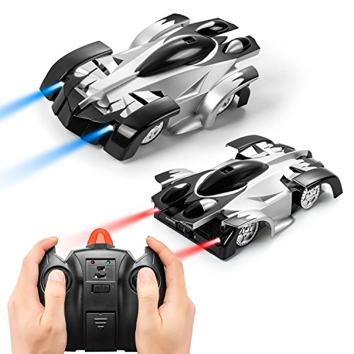 RVZHI Remote Control Car, Wall Climbing Car Kid Toys for Boys Girls Dual Mode 360°Rotating Stunt Wall Climbing Climber RC Remote Control Racing Car Toy LED Lights, Intelligent Glowing USB Cable