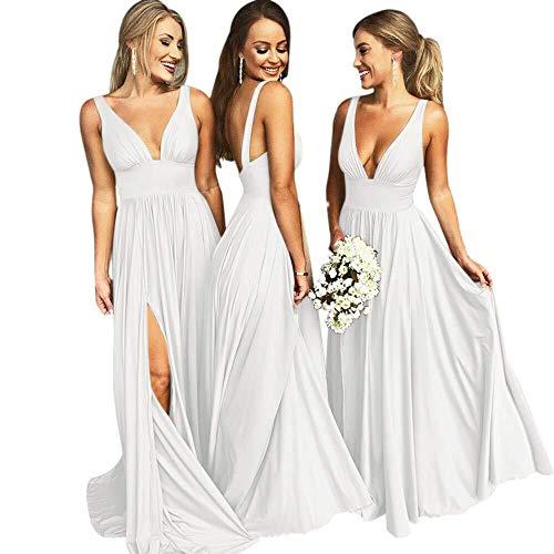 (Bridesmaid Dress Long V Neck Backless Split Prom Dress Evening Gowns for Women 2019 White Size2)