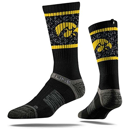 Iowa Hawkeyes Ncaa (Strideline NCAA Iowa Hawkeyes Premium Athletic Crew Socks, Black, One Size)