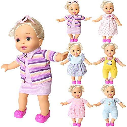 baby alive clothes Set of 6 For 12-14-16 Inch Alive Lovely Baby Doll Clothes Dress Outfits Costumes Dolly Pretty Doll Cloth Handmade Girl Christmas Birthday Gift (16)