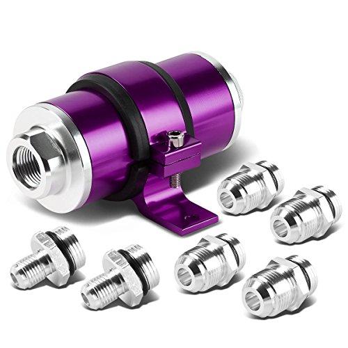30 Microns Aluminum Inline Fuel Filter+Bracket for AN6/AN8/AN10 (Purple)