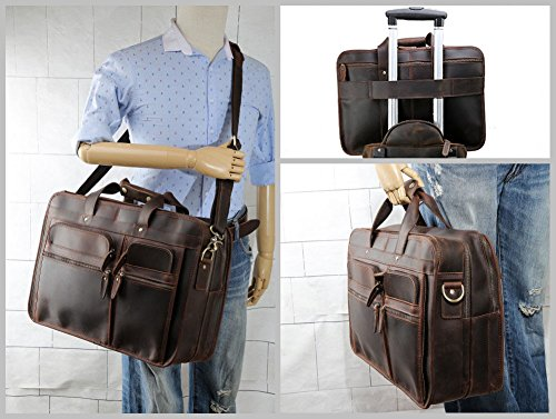 "Tiding Cowhide Leather Vintage Laptop Bag – Durable, Spacious, Stylish Carry On Business Bag – Fits 17.3"" Laptop – Perfect for The Busy Businessman by Tiding (Image #4)"