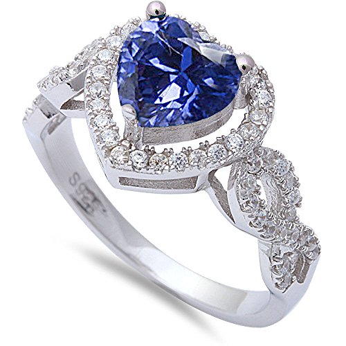 Heart Shape Simulated Simulated Tanzanite & Cubic Zirconia Promise .925 Sterling Silver Ring Size 7