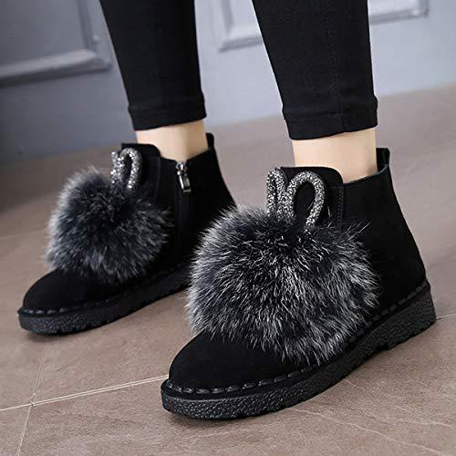 BYUYAN Stiefel Die große Anzahl der Schneeschuhe weiblichen Herbst Pu-Flat Plus Baumwolle Baumwolle Schuhe Stiefel