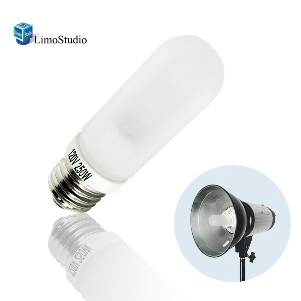 LimoStudio JDD 250W Frost Type E26 Base Flash Tube Lamp 120 Volt Light Bulb for Flash Strobe Light, Monolight, Barndoor Light, AGG1795