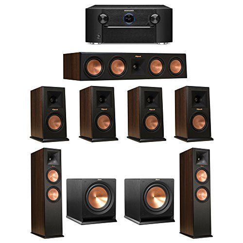 Klipsch 7.2 Walnut System with 2 RP-280F Tower Speakers, 1 RP-450C