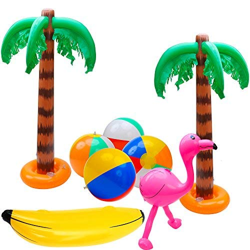 Elcoho 8 Pack Inflatable Palm Trees Flamingos Toys Inflatable Banana Beach Balls for Hawaii Party Décor Luau Party Backdrop (Party Decoration A) -