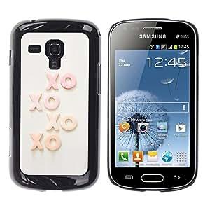 TopCaseStore / la caja del caucho duro de la cubierta de protección de la piel - Xo Kisses Text Sweet Love Sweetheart - Samsung Galaxy S Duos S7562