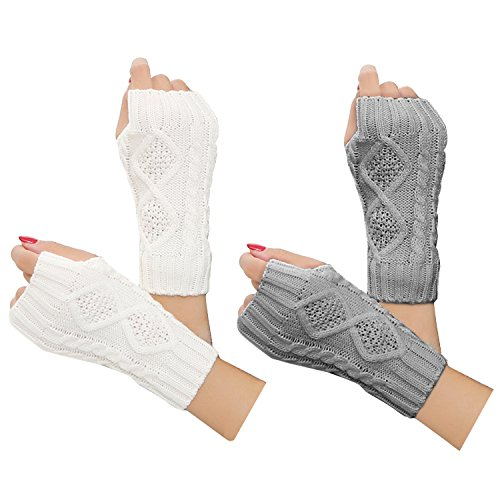 Justay 2 Pair Womens Hand Crochet Winter Warm Fingerless Arm Warmers Gloves