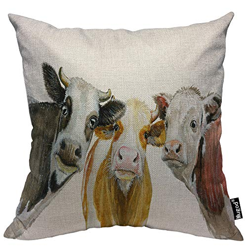 Mugod Cows Pillowcase Cute Cow Looking at You Cattle Natural Milk Agriculture Animal 18x 18 Soft Square Cotton Linen Pillow Case Cushion Cover Home Decorative for Men Women Boys Girls