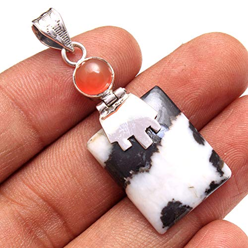 White Buffalo Turquoise, Carnelian Gemstone Pendant 6.1 Gms 925 Sterling Silver Jewelry 1.75
