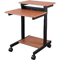 Stand Up Desk Store Rolling Adjustable Height Two Tier Standing Desk Computer Workstation (Black Frame/Teak Top, 24…