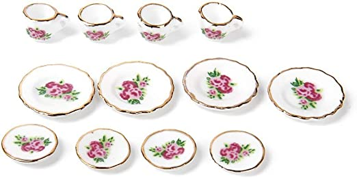 15 Piezas Conjunto de Té De Porcelana Casa De Muñecas En Miniatura alimentos Platos Rosa China C D9H2