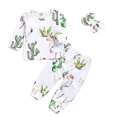 Baby Girls Boys Romper Newborn Alpaca Print Bodysuit Bowknot Headband Cactus Floral Pants Outfits Set (Animal Print Bodysuit, 70/0-6 Month) -