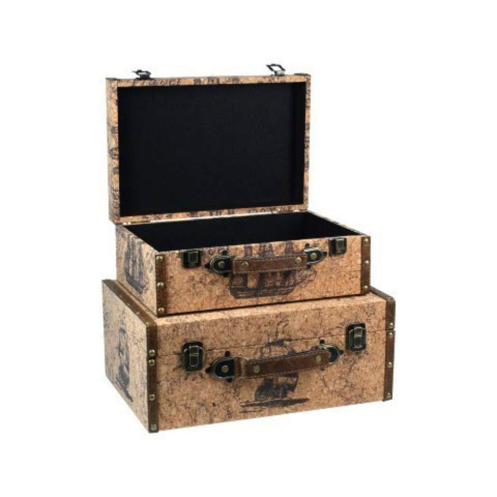 Set de 2 Maletas Decorativas de Madera Barcos. Accesorios de Viaje. Regalos Originales. Decoración Hogar. 24.5 x 34.5 x 14.5 cm.: Amazon.es: Equipaje