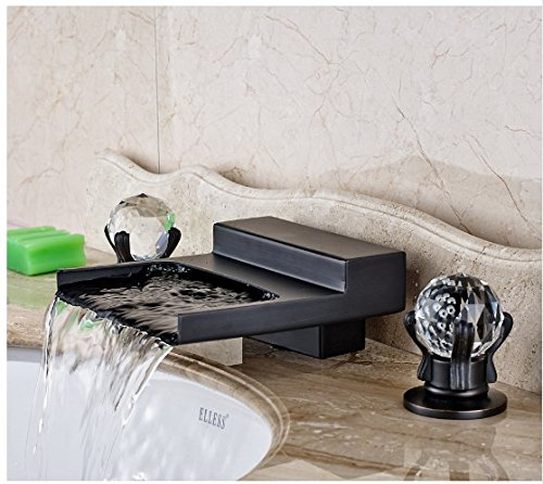 Gowe Widespread 3pcs Waterfall Spout Bathroom Sink Faucet Double Crystal Handles Oil Rubbed Bronze 4