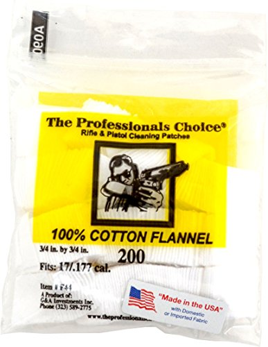 The Professionals Choice Pistol Rifle Cotton Flannel 3 4 Inch Square Gun Cleaning Patches  200 Pack  17  177 Calibre