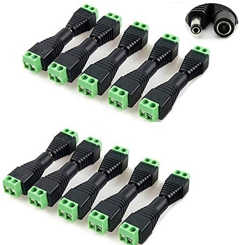- Sageme DC Power Jack Plug Adapter Connector 10 Pair, 12V 24V Male+Female 2.1mm x 5.5mm Barrel Connectors for CCTV Camera,LED Strip Light, DVR (10 x Male + 10 x Female)