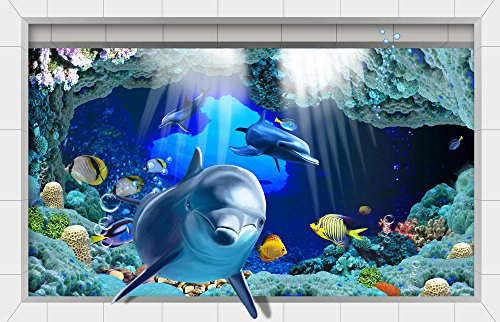 H4S Dolphins Fishes in Blue Ocean 3D Pee - Blue Ocean Flooring Shopping Results