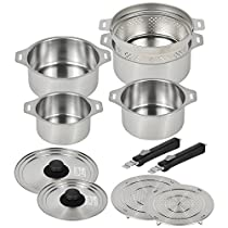 Wahei Freiz Corporation All Stainless-steel Cookwares Set, Removable Handle, 4 pots/2 lids/2 handles/2 steaming tables/1 drainer, Made in Japan