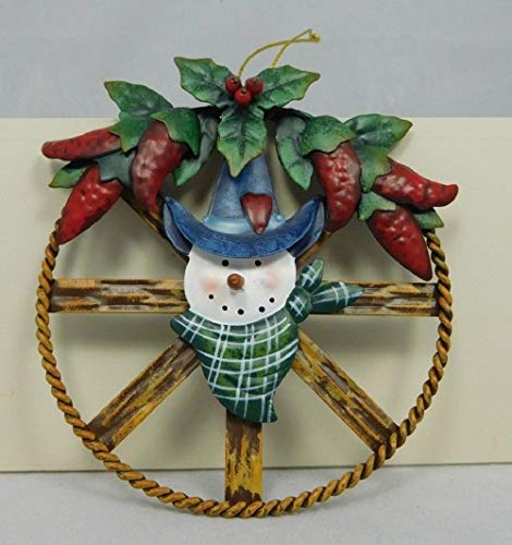 tokokwokri Western Snow Ornament with red Peppers & Holly Christmas Decoration