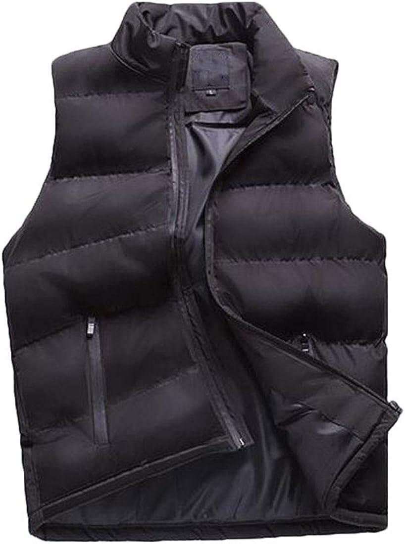 MU2M Men Stand Collar Casual Lightweight Down Jacket Coat Vest