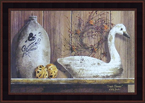 Simple Pleasures by Billy Jacobs 15x21 Still Life Swan Decoy Jug Shelf Primitive Folk Art Framed Print Picture