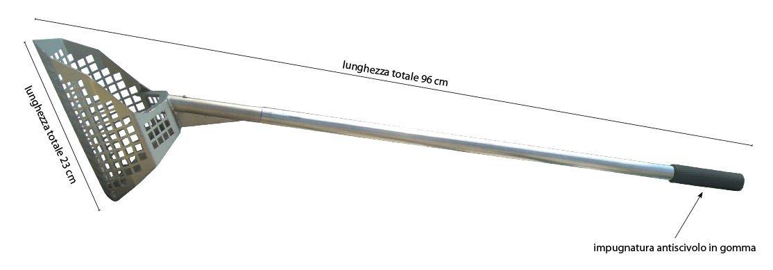 Pala con achicador perforado Polo Natural Tools. Herramienta para arena en metal, con asta de 88 cm. Robusta,…