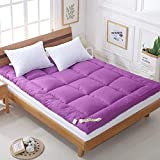 MSM Tatami Mattress Topper, Comfort Quilted Bedroom Solid Color Sleeping Futon Bed roll-Purple 150x200x5cm
