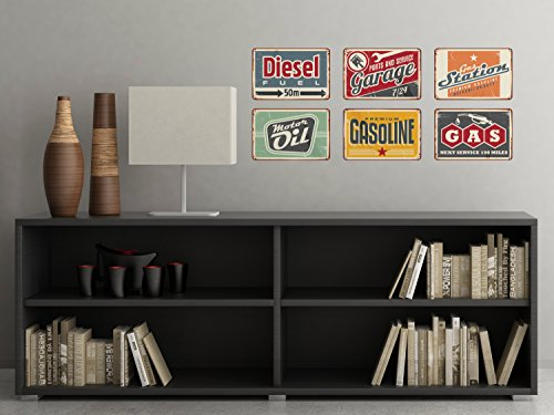 Vintage Gas Signs Fabric Wall Decals - Set Of 6 Antique Gasoline Sign Stickers - Non-Toxic, Removable, Reusable, Respositionable (Uk Sets Nursery Furniture Modern)