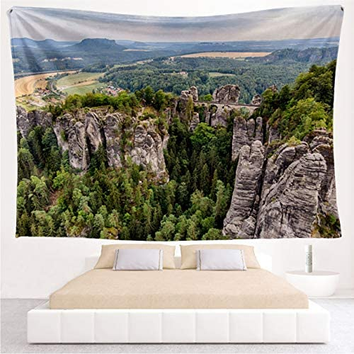 RLDRESS Wall Tapestry Wall Hanging Bastei Bridge at Saxon Switzerland National Park Multicolor with Art Nature Home Decorations Wide Wall Hanging for Bedroom Living Room Dorm-90×70 inch