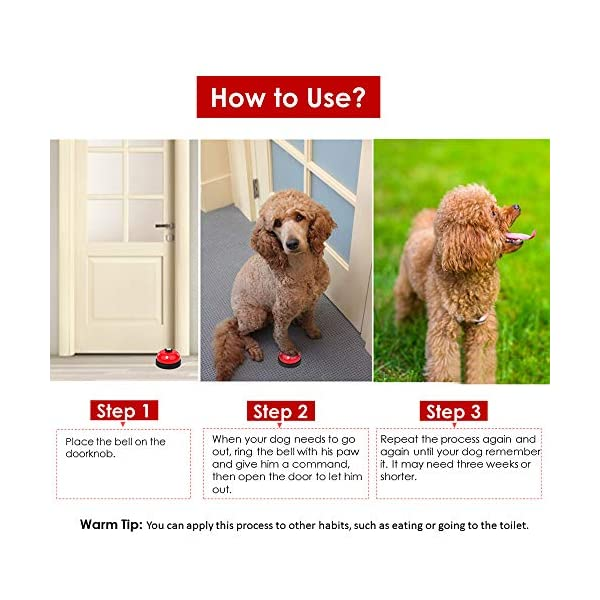 SlowTon Pet Doorbells, 2 Pack Metal Bell Dog Training with Non Skid Rubber Bottoms Puppy Door Bell for Potty Training and Communication Device with Clear Ring Paw Size Button for Small Doggie Cats 6