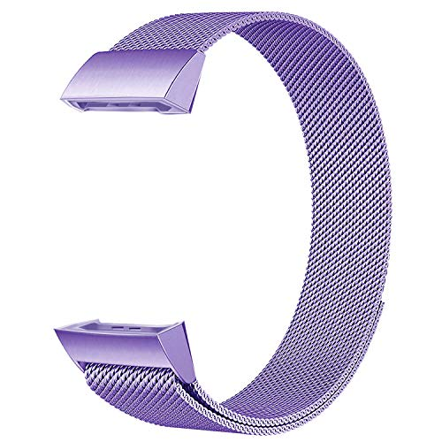 POY Metal Replacement Bands Compatible for Fitbit Charge 3 and Charge 3 SE Fitness Activity Tracker, Stainless Steel Bracelet Strap for Women Men, Small Lavender